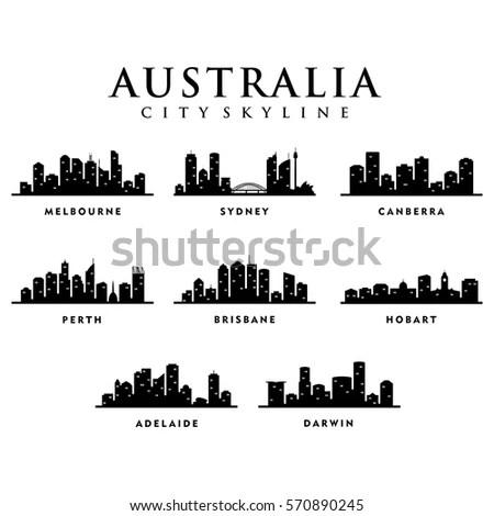 Australia Cities City Tour Skyline Illustration Stock