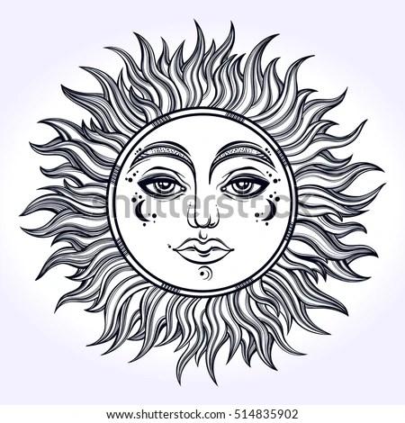 Bohemian Hand Drawn Sun Vector Illustration Stock Vector