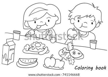 Children Eating Coloring Page Sketch Coloring Page
