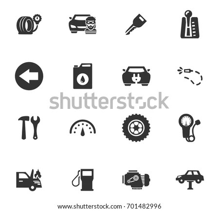 Car Service Maintenance Icons Set Symbols Stock Vector