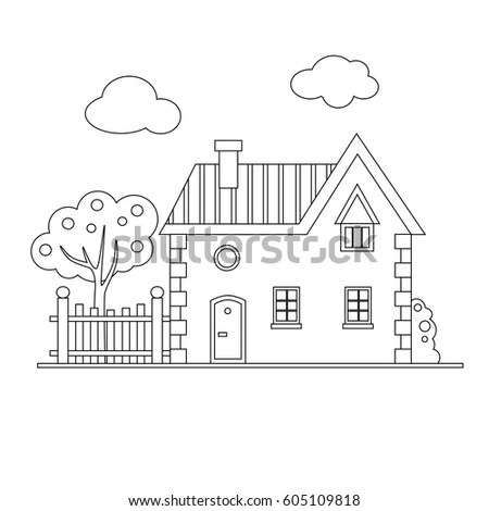 Vector Cartoon Brick House Fence Tree Stock Vector