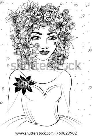 Beautiful Portrait Woman Flowers Stock Vector 659512777