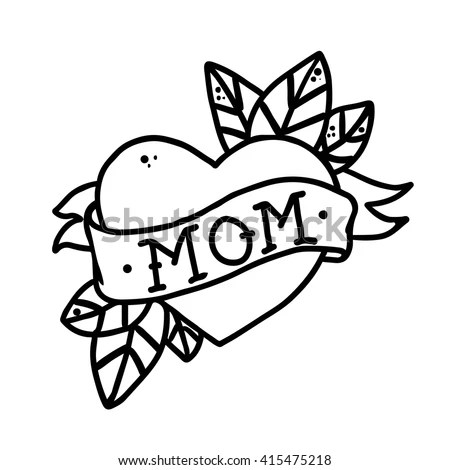 Tattoo Heart Ribbon Word Mom Without Stock Vector