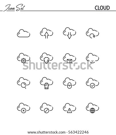 Cloud Computing Sketch Icons Clouds Phone Stock Vector