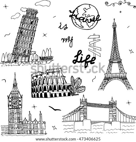 Hand Drawn Europe Architecture Sketch Art Stock Vector