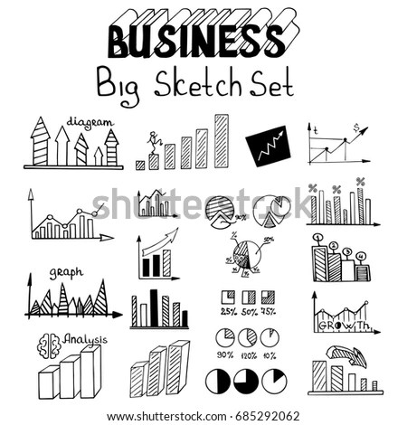 Business Arrow Bubble Set Sketch Vector Stock Vector