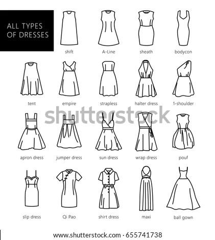 Dresses Silhouette Vector Set Vector All Stock Vector