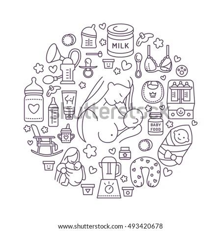 Breastfeeding Poster Template Vector Line Illustration
