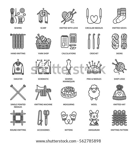 Knitting Crochet Hand Made Line Icons Stock Vector