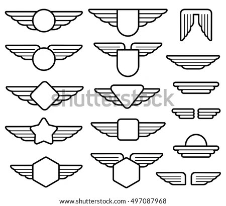 Wing Army Emblems Aviation Badges Pilot Stock Vector