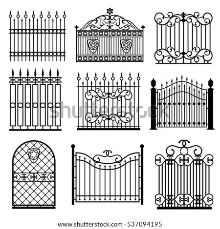 Decorative Black Silhouettes Fences Gates Set Stock