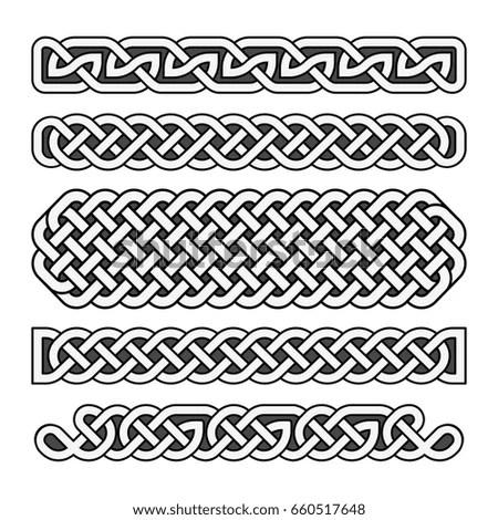 Celtic Knots Medieval Borders Set Black Stock Illustration