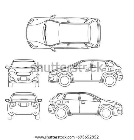 Car Line Art All View Four Stock Vector 362605358