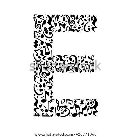 E Letter Made Musical Notes On Stock Vector 428771368