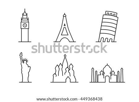 Landmarks Sen Outline Icons Symbols Vector Stock Vector