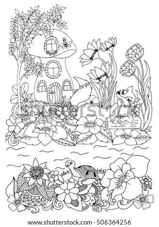Vector Illustration Zentangle Underwater World Doodle