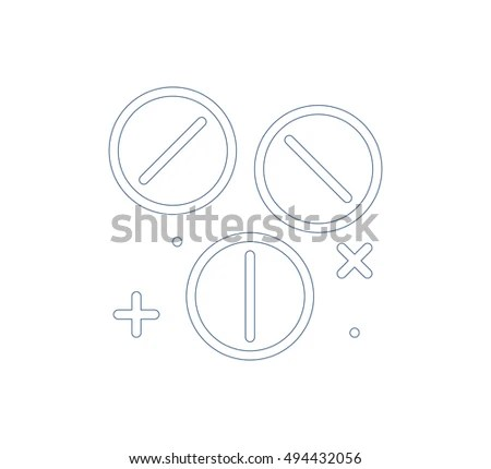 Pills Medicines Outline Icons Set Isolated Stock Vector
