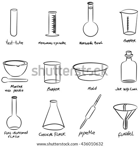 Set Chemical Supplies Test Tubes Pipettes Stock Vector