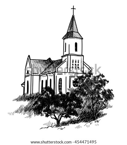 Catholic Church Vector Freehand Drawing Vintage Stock