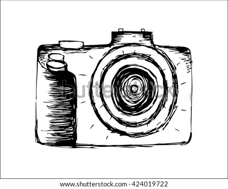 Dslr Camera Line Art Hand Drawn Stock Vector 385308685