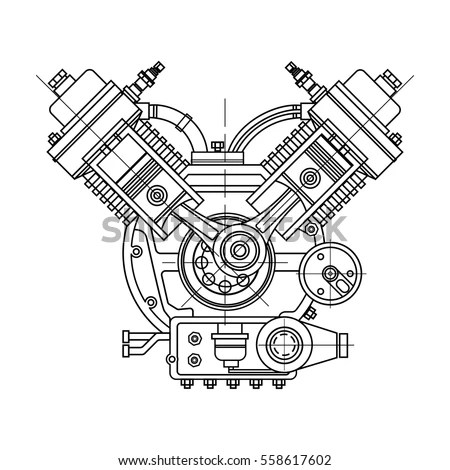 Drawing Internal Combustion Engine Isolated Section Stock