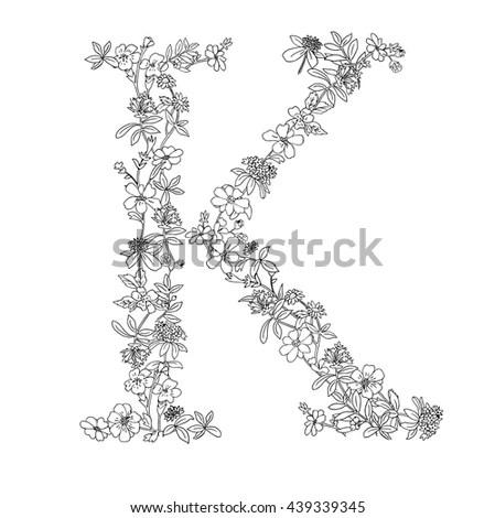 Elegant Black White Floral English Typography Stock Vector