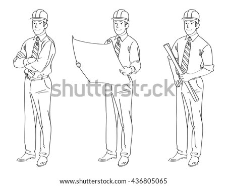 Engineer Line Drawing Illustration Stock Vector 436805065