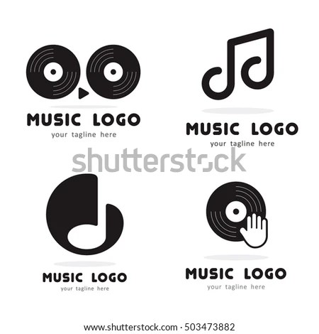 Music Play Hand Disk Dj Logo Stock Vector 503473882