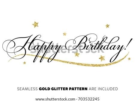 Happy Birthday Inscription Gold Stars Vector เวกเตอร์สต็อก