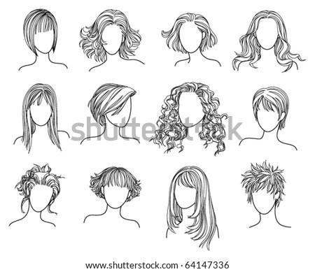 Hairstyles Illustration Twelve Hairstyles Stock Vector