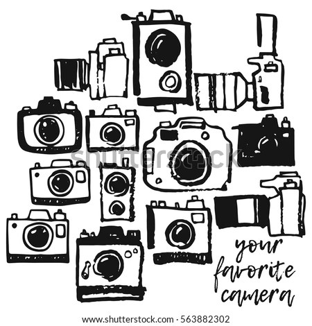 Vintage Camera Hand Drawing Illustration Stock Vector