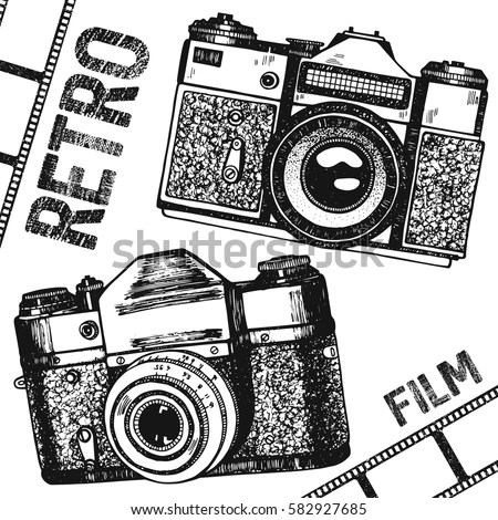 Retro Vintage Photo Camera Film Hand Stock Vector