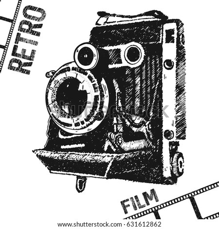 Vintage Camera Hand Drawing Illustration Stock Vector
