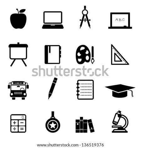 School Education Icons Vector Icon Set Stock Vector