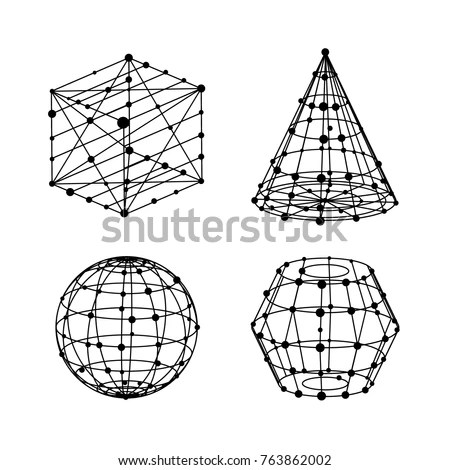 Vector Pyramid Dots Lines Wireframe Architecture Stock