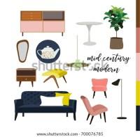 Vector Mid Century Modern Furniture Home Stock Vector ...