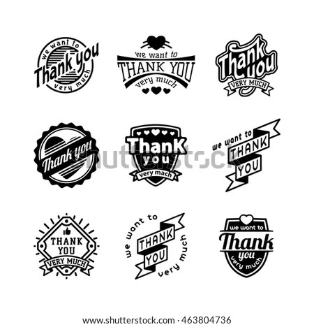 Collection Seven Greyscale Vector Football Logo Stock