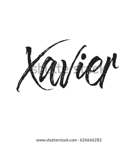 Xavier Text Design Vector Calligraphy Typography Stock