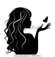 woman hair silhouette stock