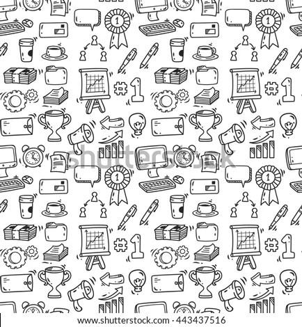 Set Computer Doodles 55 Elements Stock Vector 39889546