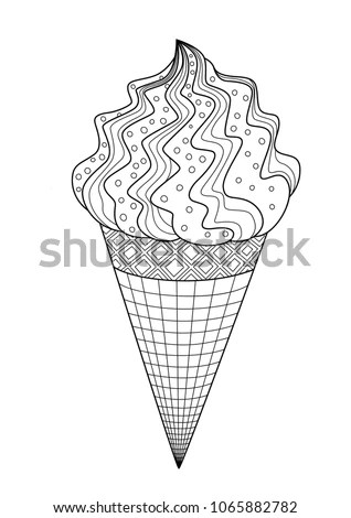 Outlined Doodle Antistress Coloring Page Ice Stock Vector