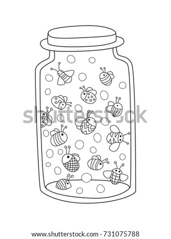 Outlined Doodle Antistress Coloring Page Bottle Stock