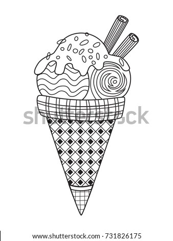 Outlined Doodle Antistress Coloring Page Tasty Stock