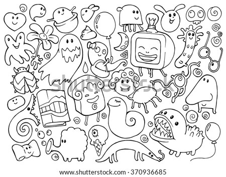 Coloring Book Doodle Illustrations Set Many Stock Vector