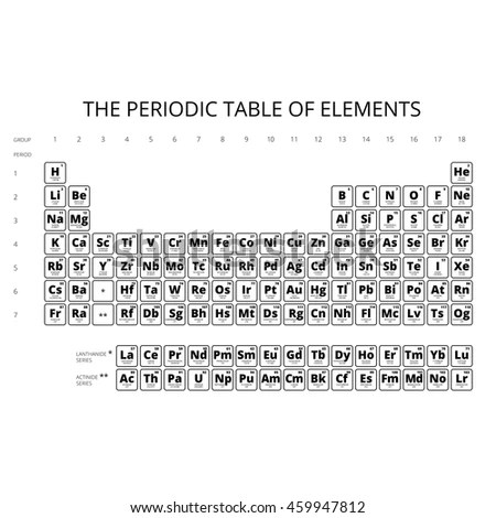 Chemistry periodic table elements and symbols periodic diagrams periodic table elements symbol atomic numbercomplete stock vector urtaz Choice Image