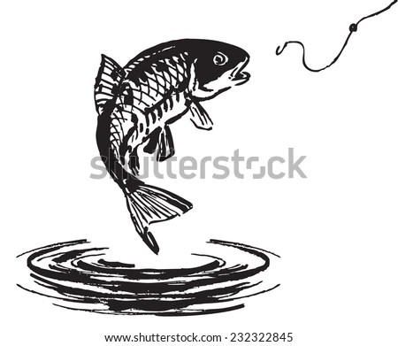 Fish Jumping Out Water Vector Illustration Stock Vector