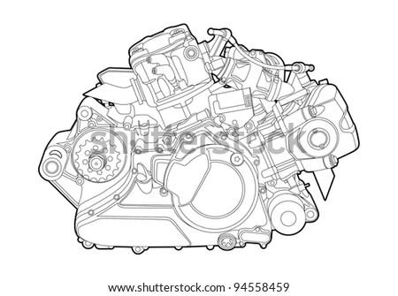 V8 Engine Sketch, V8, Free Engine Image For User Manual