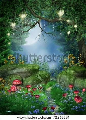 3d Mushroom Garden Wallpaper Enchanted Forest Mushrooms Fairy Lanterns Stock