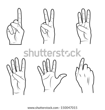 Hands Signals Over White Background Vector Stock Vector