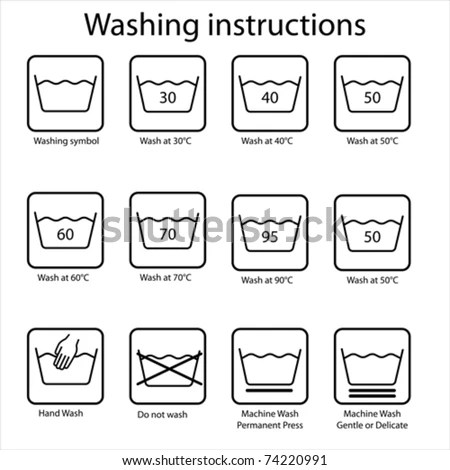 Clothes Washing Instruction Symbols